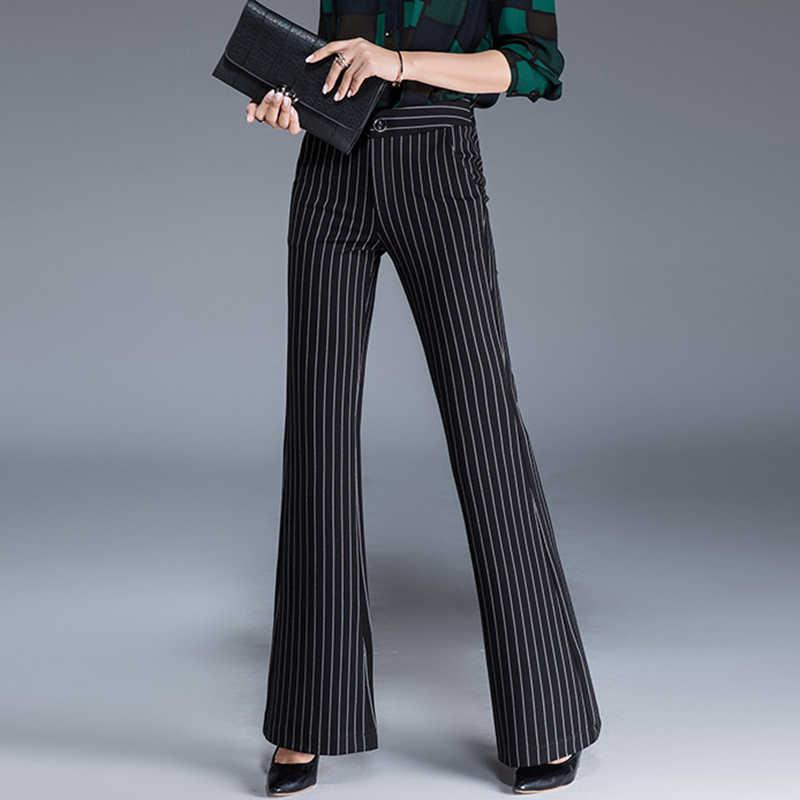 2020 봄 새로운 여성의 영국 플레어 바지 높은 허리 플러스 크기 바지 여성 슬림 얇은 스트라이프 바지 블랙 ol s 8xl 10xl