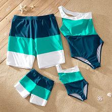 Patpat 2021 nova chegada verão família olhar colorido bloco de uma peça um ombro correspondência swimwears