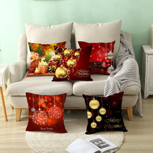 45x45cm Cotton Linen Merry Christmas Cover Cushion Christmas Decor for Home Happy New