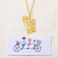Пользовательское детское рисованное ожерелье, детское художественное произведение искусства, колье из нержавеющей стали, ожерелье, ювелир...
