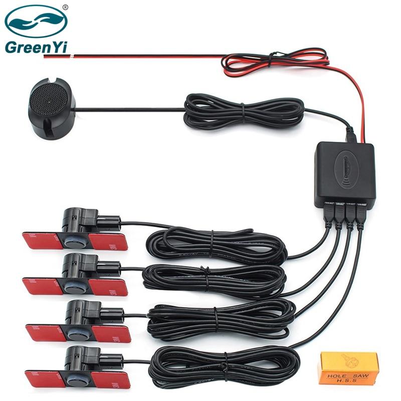 GreenYi Car Parking Sensor Assistant Parktronics 4 Black/Silver/White 13mm Flat Sensors Reverse Radar Sound Buzzer Alarm Sound