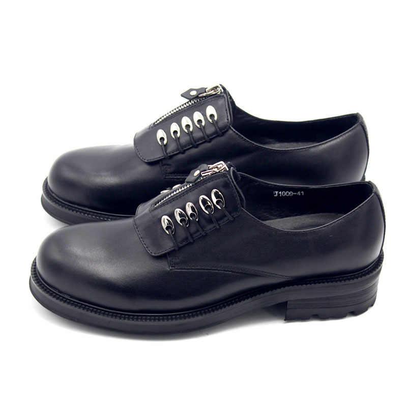 Quente inglaterra zip fundo grosso redondo cabeça dos homens sapatos sociais escritório casual couro de vaca do vintage lantejoulas calçados masculinos aumentar 5 cm