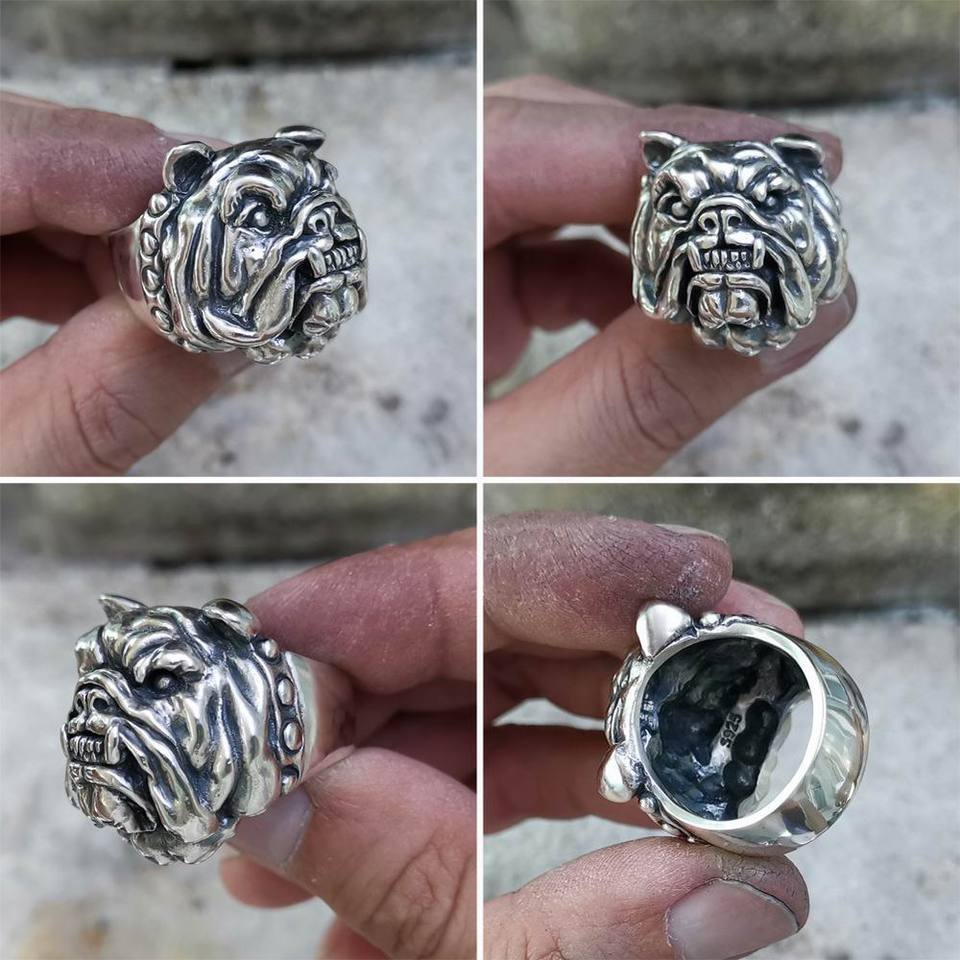 925 Sterling Silver Huge Pitbull Bulldog Mens Biker Rock Punk Animal Ring TA12B