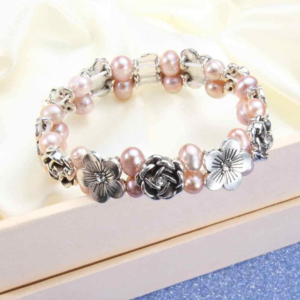 Real Natural Freshwater Baroque Pearl Bracelets & Bangles For Women Rose Charm Bracelet Beads 6-7mm Pearl Jewelry Gift