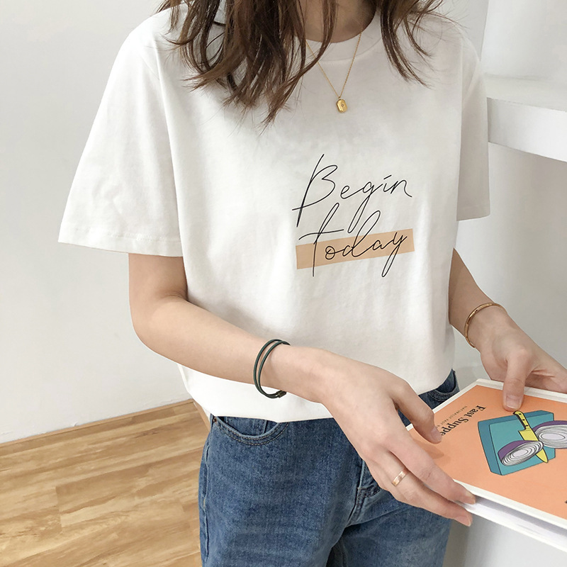 Letter Women T-Shirt O Neck Short Sleeve Loose Casual Pure Cotton 2020 Girls Spring Thick Pullovers Femme Fashion Clothings