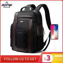 حقيبة ظهر سوداء جديدة من BOPAI متعددة الجيوب للرجال مصنوعة من النيلون المتين للأعمال حقائب الظهر Mochila مريحة مزودة بمنفذ USB للشحن للنساء