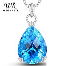WEGARSTI Natural Blue Topaz Pendant Necklace For Women 925 Sterling Silver Color