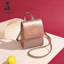 FOXER marka bayan cep telefonu çanta kadın deri omuzdan askili çanta kız MINI Crossbody çanta kadın akşam çanta sevgililer günü hediyesi