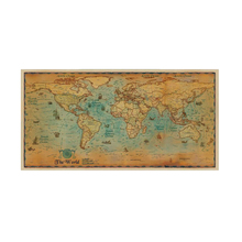 100*50cm World Map Nautical Ocean map Retro old Art Paper Painting Home Decor Sticker Living Room Poster Cafe Antique poster