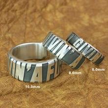 خاتم محفور بكلمات فضية نقية لعام 999 ، خاتم بيكر بانك روك للرجال بتفاصيل عالية 9Y018