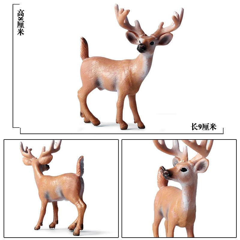 野生動物モデルクリスマスヘラジカホワイトテール鹿ニホンジカ鹿トナカイ人形グッズ置物アクションフィギュアの子供のおもちゃの家の装飾