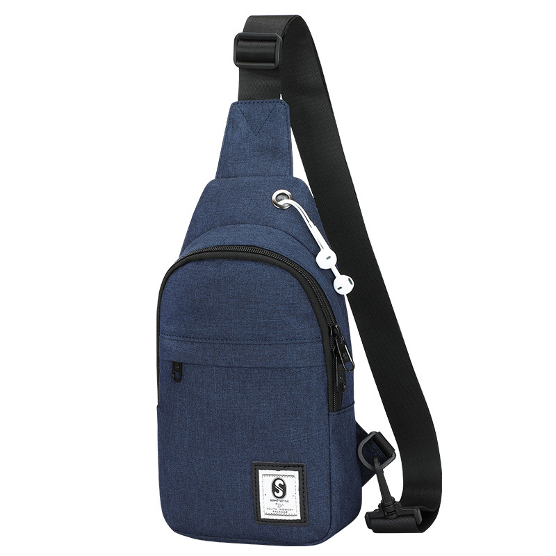 Solid Color Chest Pack Headset Jack Cross Border EBay Oxford Cloth Multi-functional Shoulder Bag Korean-style One-Shoulder Small