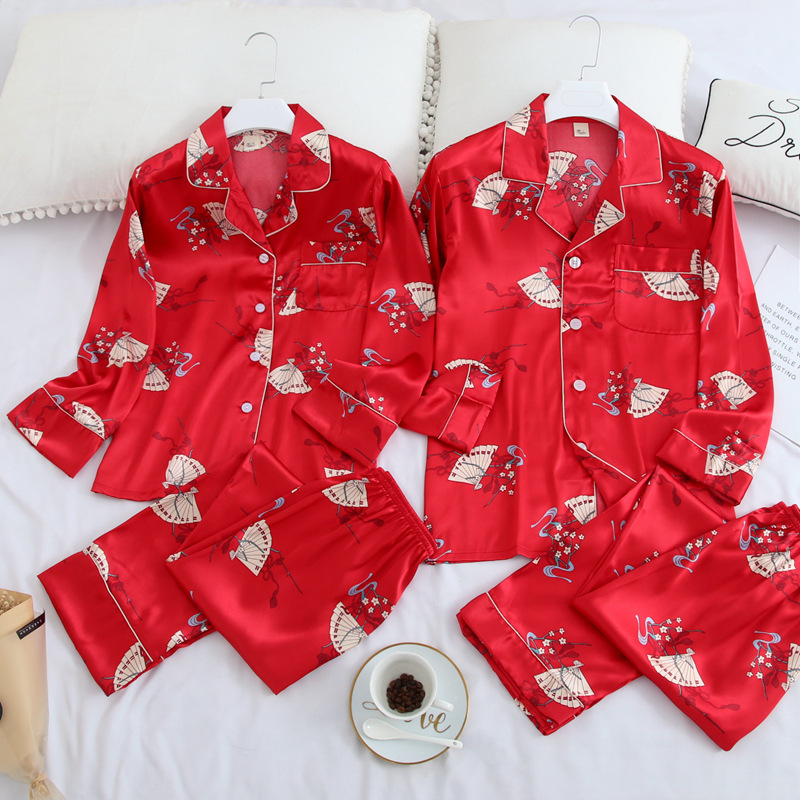 FZSLCYIYI Couple Sleepwear Family Pijama Lover Night Suit Men & Women Casual Home Clothing Pajama Suit Satin Silk Pajamas Sets