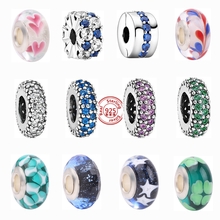 New 925 Sterling Silver Pink Blue Color Crystal Round Charm Beads Fit Original Pandora Charms Bracelet Murano Glass Jewelry Gift