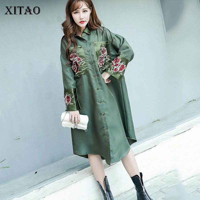 XITAO Chinese Style Embroidery Women Dress Fashion Loose Long Sleeve Plus Size Women Clothes 2020 Spring New Dresses DMY3364
