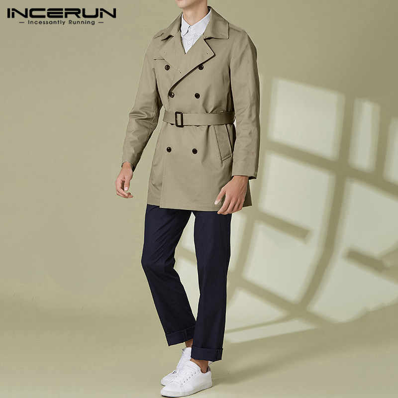 INCERUN Mannen Lange Mouwen Solid Revers Geul Casual Mode Bovenkleding Jassen Double Breasted Gordel Pockets Mens Trench Overjassen