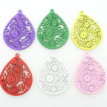 120pcs Large mixed colors Filigree wood Wooden pendants for Earrings, statement jewelry diy Accessory