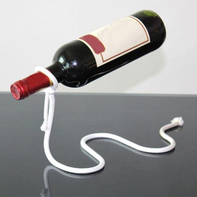 Porte-bouteille à vin en corde blanche | Chaîne de vin artisanale créative en 3D porte-bouteille dalcool magique suspendue, porte-bouteille pratique, Bar de cuisine domestique