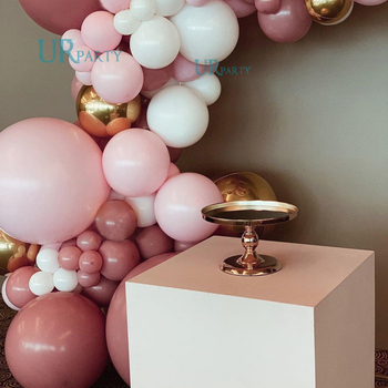 81 pcs  balloon garland arched white and  Maca baby pink balloons for bridal and baby shower birthday weddings, anniversaries