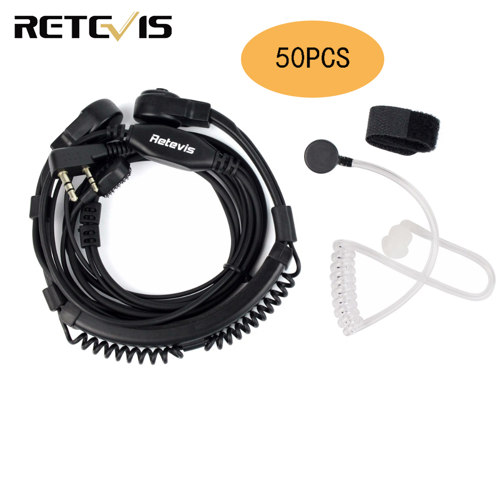 50pcs Flexible Throat Mic Headset Walkie Talkie PTT Earpiece For Kenwood Baofeng UV-5R UV-82 Retevis H777 RT-5R RT22 RT3 RT8