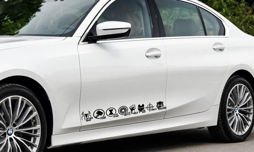Автомобильная наклейка Мстители щит Железный Человек-паук Тор Халк Черная пантера Автомобильная виниловая пленка наклейка для Audi BMW Ford Volkswagen Toyota Jeep универсальные автомобильные принадлежности для тюнинга