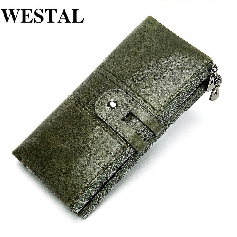WESTAL Women's Wallet Genuine Leather Wallets Female Portomonee Coin Purse Long Clutch Purses Phone Card Holder Carteras