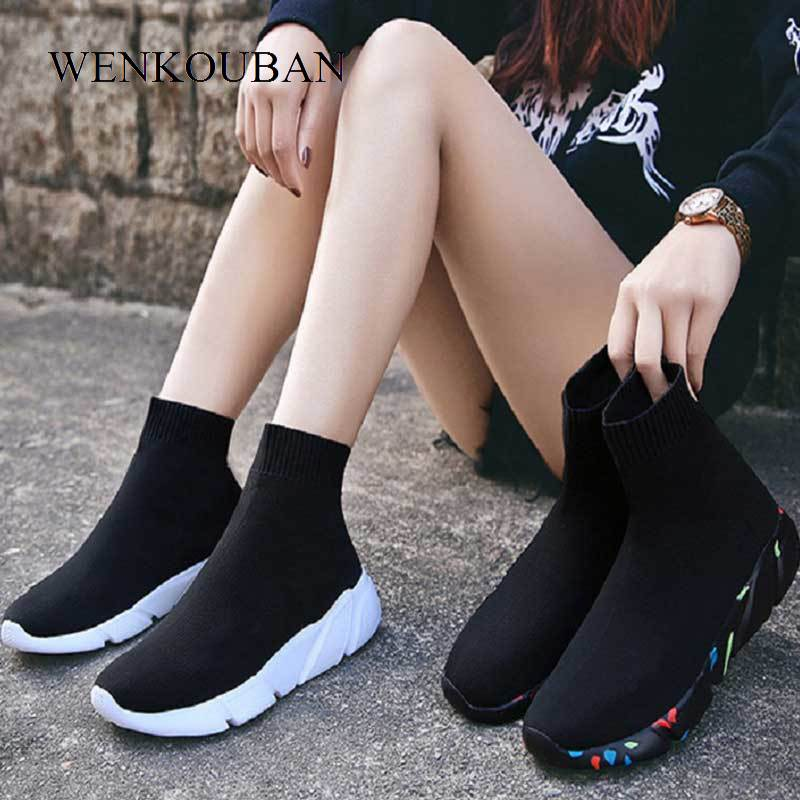 Sneakers For Women Vulcanized Shoes Female Socks Shoes Fashion High top Sneakers Ladies Casual Trainers Black Basket Femme 2020