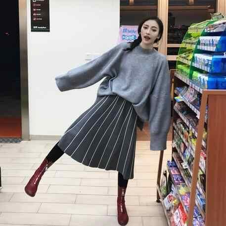 Faldas Mujer invierno 2019 Vintage rayado delgada A Línea de Alta cintura de punto Falda larga negro gris flecos falda DF998