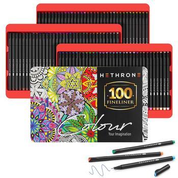 Hethrone high grade 100PCS Simple Fine Liner Drawing Art Markers Pen Watercolor Tips Brush Pen Journals Artist Sketch Supplies