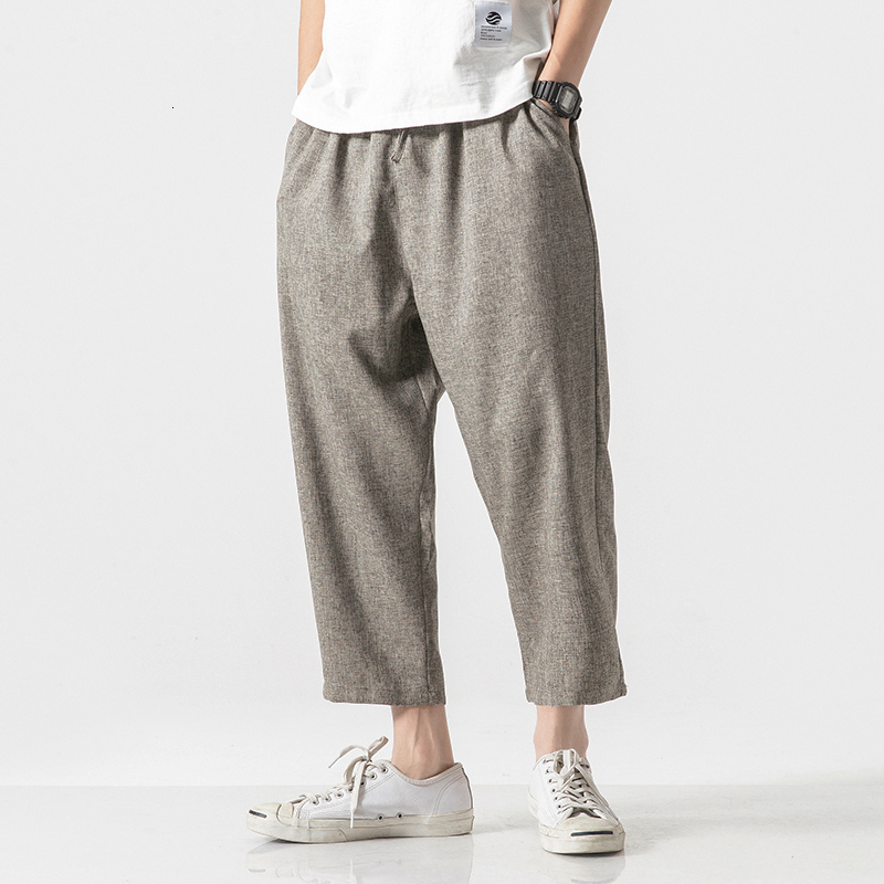 MrGoldenBowl Store Men Oversize Wide Leg Pants 2020 Mens Straight Casual Ankle-Length Pants Chinese Style Summer Male Harem Pant
