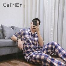 CAIYIER 2021 Лето Хлопок Домашняя одежда Мужчины% 27 Пижамы С короткими рукавами Пижамы Плед Принт Мальчики Повседневные Свободные Хлопок Пижамы L-3XL