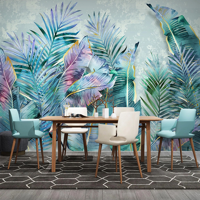 Custom Mural Nordic Tropical Plant 3D Leaves Modern Living Room Sofa TV Background Waterproof Wallpaper Wall Covering Home Decor