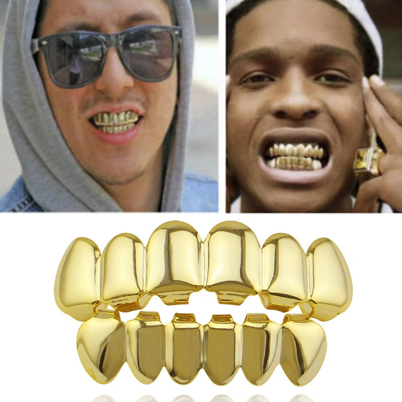 Hip Hop Gold Teeth Upper and Bottom Grills Dental Mouth Punk Teeth Caps Cosplay Party Tooth Rapper Body Jewelry Gift
