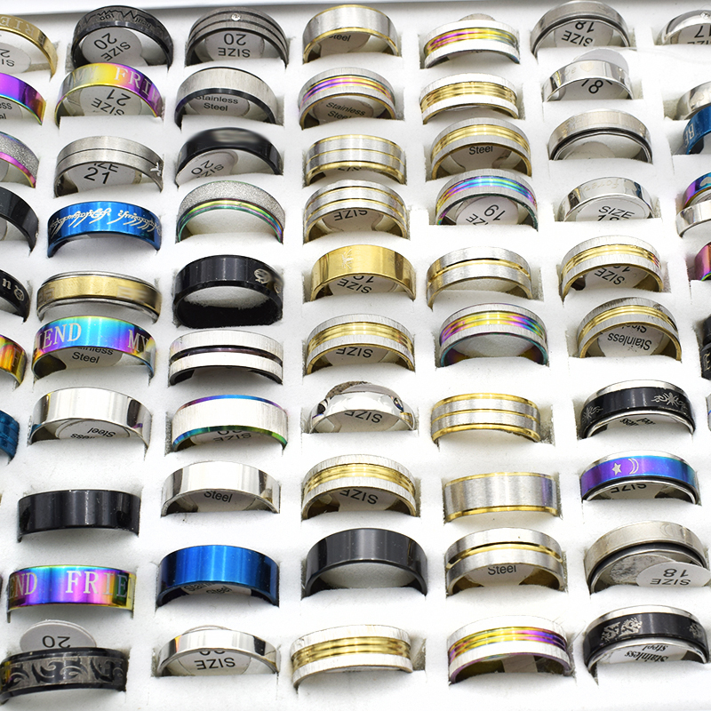 10 Pieces Mix Stainless Steel Rings Wholesale Gold/Black Round Statement Rings for Women Men jewelry