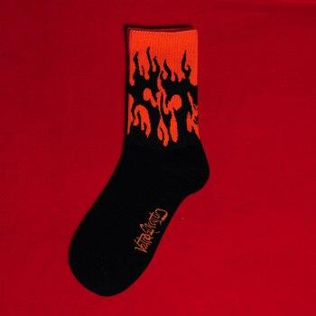 Men Fashion Hip Hop Hit Color On Fire Crew Socks Red Flame Blaze Power Torch Hot Warmth Street Skateboard Cotton Socks 12