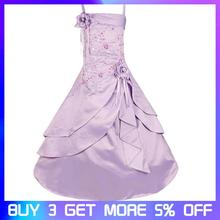 Kids Girls Embroidered Flower Girl Dresses Formal Princess Party Gown for Children Prom Gown Wedding 4-14Y top quality princess tutu flower children girl dresses light gray flower 2 14y fashion draped ball gown evening dress kids prom