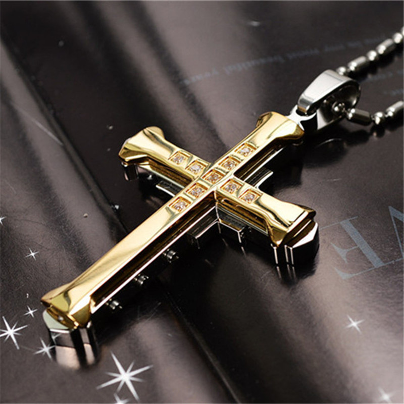 New Hot Sale Necklace for Men Jesus Crystal Cross Pendant 1