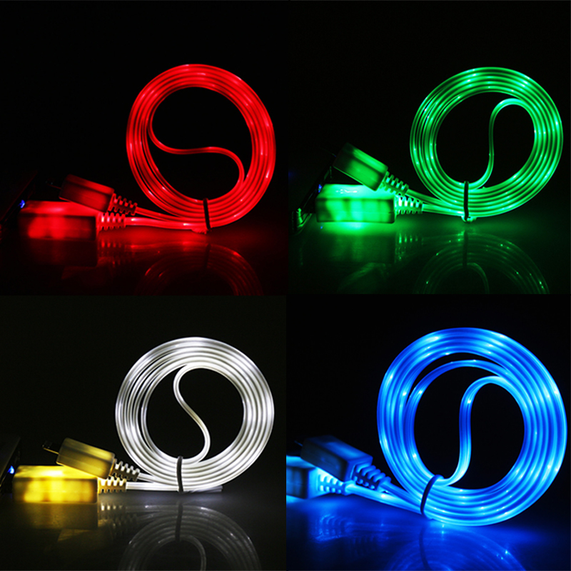 1M Colorful emitting Charge Wire Led Micro USB Cable for Samsung for HTC for iPhone 6 6S 7 8 Plus x Android phone charger cable