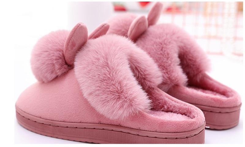 He9345c8be2354111b6b5a1c1cf453654w Chinelos de inverno feminino de veludo neve chinelo indoor casa sapatos plus size senhoras macio conforto sapatos peludo orelhas coelho pelúcia