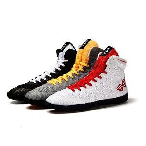 Zapatos de boxeo para hombre, suela de goma, zapatillas de lucha transpirables, disfraz de lucha libre, zapatos blancos y negros para lucha, 2019
