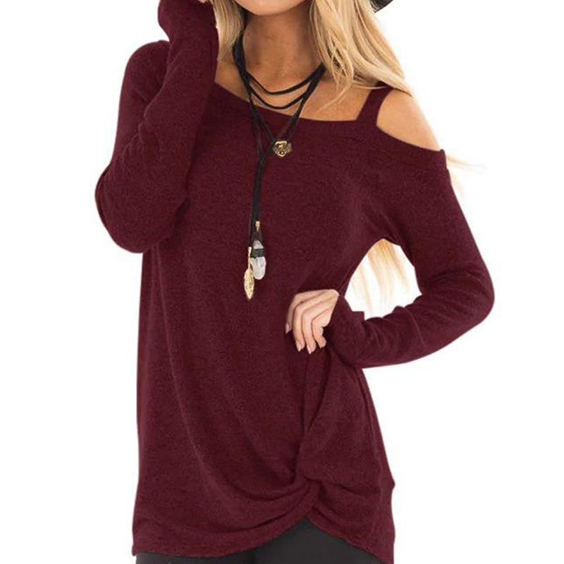 Women's Sweaters Long Sleeve Crewneck Strapless Shoulder Pullovers Solid Color Casual Tunic Blouses Solid Color Twisted
