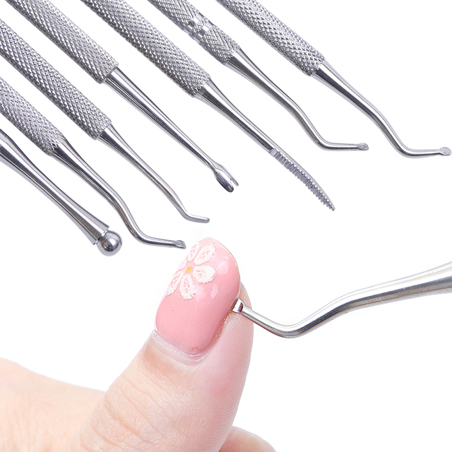 Dual ended Silver Groove Pick Toe Finger Corrector Cuticle Pusher Stainless Steel Remover Dead Skin Manicure Nail Tools LAG01 07