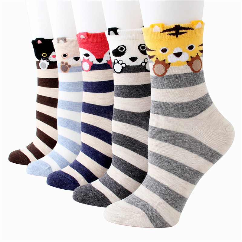 Recommend !!women Lovely Cartoon Socks Autumn-winter Fashion Striped Cotton Sock Ladies And Woman's Funny Animal Socks