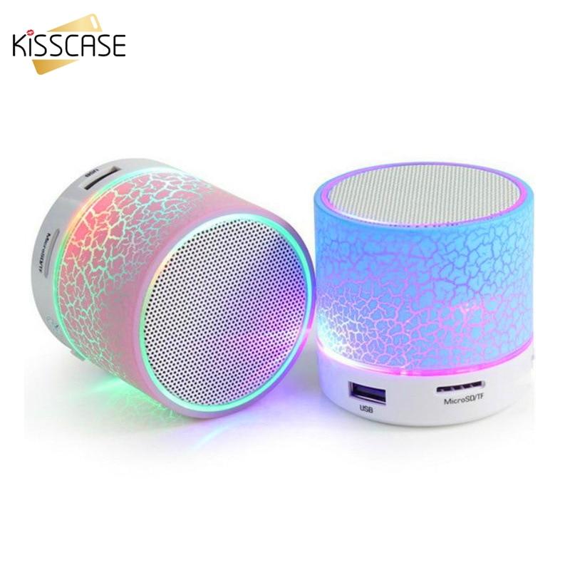 KISSCASE Mini Wireless Portable Bluetooth Speakers Crack LED USB Radio FM MP3 Stereo Sound Speaker For Computer Mobile Phone