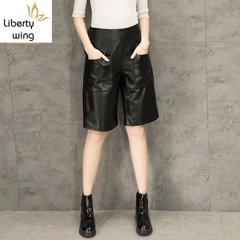 Women Sheepskin Pants 2020 Spring New Korean Loose Fit High Waist Knee Length Real Leather Short Trousers Ladies Casual