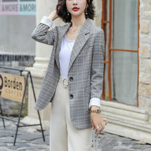 Spring-autumn 2020 high-quality professional blazer Single-breasted checked women's jacket Interview Sales Workwear Feminine