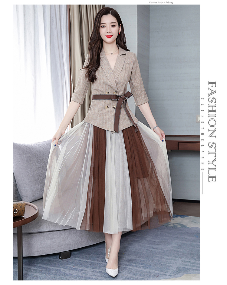2019 Two Piece Sets Outfits Women Office Suit With Belt And Pleated Skirt Suits Vintage Korean Ladies 2 Piece Sets Femme 41