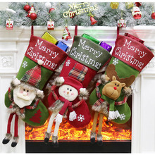 Santa Claus Snowman Pendant Christmas Ornaments New Year Socks Decoration Home Tree