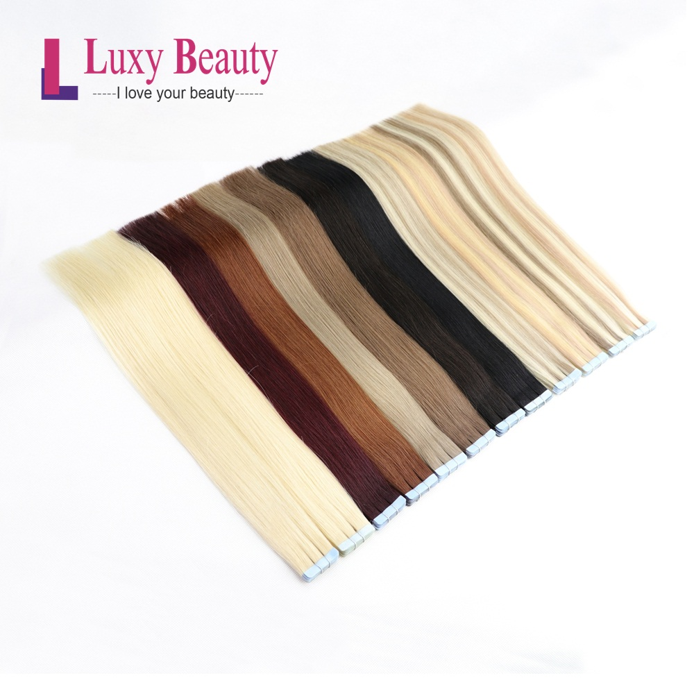 LuxyBeauty 14inches 1.5g/pc Tape In Human Hair Extensions Human Hair Remy Straight  Sided Skin Weft Hair On Adhesives 8Colors