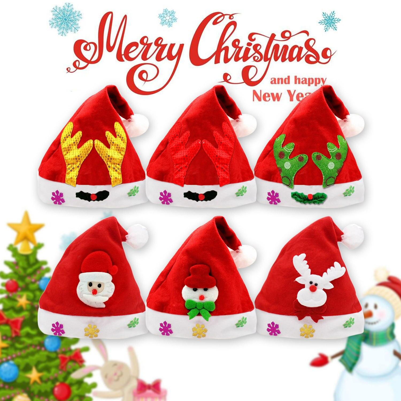 6pcs Kids Adults Unisex Christmas Hat Santa Claus Snowman Reindeer Sequin Christmas Plush Hat Xmas Cap Christmas Party Prop Toy